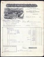 FACTURE OU LETTRE ANCIENNE DE BAGNERES-DE-LICHON- 1923 - CHOCOLAT CUIT- BELLE ILLUSTRATION- 2 SCANS- - Alimentaire