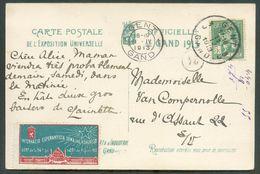 Belgique Espéranto - N°110 Obl. C GENT 3 Ur CV(Exposition Universelle De GAND)  Avec Vignette De Internacia Esperanta Se - Esperanto