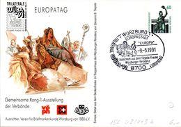 "(BPGS) BRD Privatganzsachen-Sonderpostkarte PP152 D2/043b ""TRILATERALE WÜBA'91"" SST 9..5.1991 WÜRZBURG 1 - Cartoline Private - Usati"