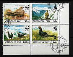 ASERBAIDSCHAN Mi-Nr. 161 - 164 Viererblock Weltweiter Naturschutz: Kaukasisches Birkhuhn Gestempelt (4) - Aserbaidschan