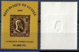 LE PREMIER TIMBRE ITALIEN 30,000 FG - 2009 - SU PICCOLA LASTRA D'ORO - NUOVO ** - Guinea (1958-...)