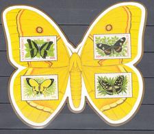 Sao Tome 2001,4V In Butterflyblock,butterflies,vlinders,schmetterlinge,papillons,mariposas,farfalle,MNH/Postfris(L3297) - Vlinders