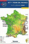 Tour De France 2000 Carte Dynapost Avec Le Parcours De La Course Vélo Sport Cyclisme Cycliste - Wielrennen