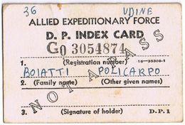 Cartellino Accompagnatorio Di Rientro Prigioniero Di Guerra - Allied Expeditionary Force-D.P. Index Card - Ohne Zuordnung