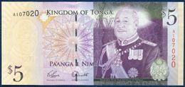 TONGA 5 PA'ANGA PAANGA P-39a 2009 UNC - Tonga