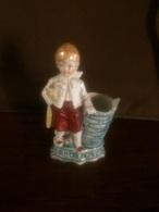 Fantastica Statuina In Ceramica Bianca Colorato Metà 800 Numerato - Ceramics & Pottery