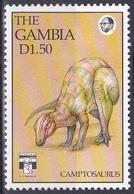 Gambia 1992 Tiere Fauna Animals Dinosaurier Saurier Camptosaurus Dinosaurs Saurian, Mi. 1409 ** - Gambie (1965-...)