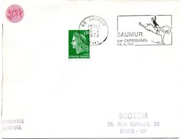 MAINE Et LOIRE - Dépt N° 49 = SAUMUR 1972 = FLAMME à DROITE =  SECAP Illustrée Du CADRE NOIR 'CARROUSEL' - Storia Postale