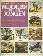 ENCYCLOPEDIE IN ZEGELS N° 20 WILDE DIEREN EN HUN JONGEN ( NIJLPAARD OLIFANT ZEBRA BIZON GIRAF VOS TIJGER LEEUW ...) 1958 - Encyclopedia