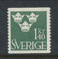 Sweden 1948 Facit # 300, Three Crowns, 1,40 Kr, Dark Green, MH (*) - Ungebraucht