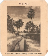 MENU Compagnie Transatlantique FRENCH LINE Avec Dessin Original De 1948 S/s Marrakech - Menus