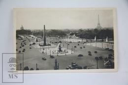 Old Real Photo Postcard France - Paris - Place De La Concorde, Old Cars - Plazas