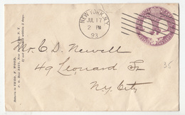 USA, Theo F. Wood Postal Stationery Letter Cover Travelled 1893 New York Pmk B180122 - ...-1900