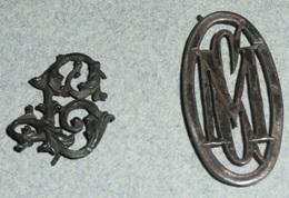 Rare Lot De 2 Anciens Monogrammes En Argent, Lettres L & CM Ou CMO, Monogramme Lettre - Argenteria
