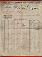 Facture Raffinerie Huile Essence Pétrole Fenaille Despeaux Paris 12-11-1908 - Pub Saxoléine & Benzo-moteur - 1900 – 1949