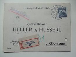 CZECHOSLOVAKIA - 1931 Postcard - Registered Petrovice U Bohumuna Sent To Olomouci - Rekommandiert Cachet - Covers & Documents