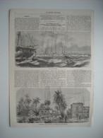 GRAVURE 1857. INDE. PONDICHERY. VUE DE PONDICHERY. CANAL SEPARANT LA VILLE BLANCHE DU QUARTIER MALABAR. - Prints & Engravings