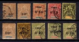 Martinique Dix Timbres Anciens Neufs Et Oblitérés 1899/1904. Bonnes Valeurs. B/TB. A Saisir! - Martinique (1886-1947)