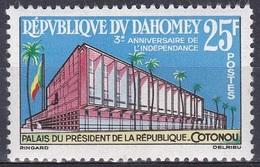Dahomey Benin 1963 Geschichte Unabhängigkeit Independence Architektur Bauwerke Buildungs Palast Cotonou, Mi. 220 ** - Benin – Dahomey (1960-...)