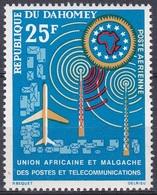 Dahomey Benin 1963 Organisationen Kommunikation Postwesen Flugzeug Aeroplanes Sendemast Funk, Mi. 221 ** - Benin – Dahomey (1960-...)