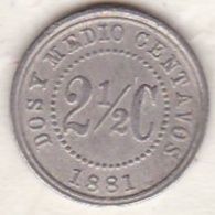 Colombia . 2 1/2 Centavos 1881. Copper-nickel. KM# 179 - Colombia