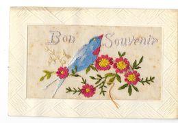 FANTAISIE Brodée Bon Souvenir Oiseau Fleurs - Brodées