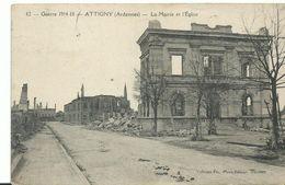 14-18 Attigny Ardennes La Mairie Et L'église - War 1914-18