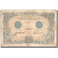 France, 20 F 1905-1913 ''Bleu'', 1912, 1912-11-18, KM:70, TB - 1871-1952 Circulated During XXth