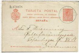 PUERTO DE LA CRUZ CANARIAS  ENTERO POSTAL ALFONSO XIII 1920 A DINAMARCA - 1889-1931 Royaume: Alphonse XIII