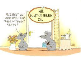 """Allemagne - Wil Glatulielen Dil - Musstest Du Unbedingt Eins """"Made In Taiwan"""" Kufen ? - Ecrite, Timbrée - 4348 - Humour"""
