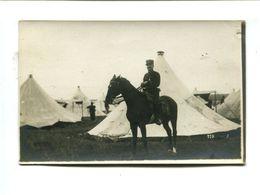 """Cp - Carte Photo - Officier Militaire à Cheval Devant Son Campement - """"La Photographie Française - Toul"""" - Militaria"""