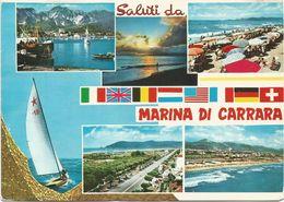 V1480 Saluti Da Marina Di Carrara - Panorama Vedute Multipla / Viaggiata 1968 - Carrara