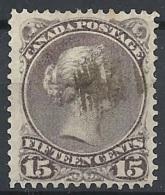Canada - 1868 Queen Victoria, 15c Dull Gray Purple # SG 61c - Michel 24dx  - Scott 29 USED - 1851-1902 Reign Of Victoria