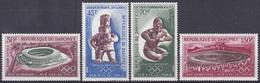 Dahomey Benin 1968 Sport Spiele Olympia Olympics Mexiko Mexico Stadion Ballspiele Ringer Skulpturen, Mi. 360-3 ** - Benin – Dahomey (1960-...)