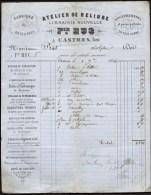 FACTURE OU LETTRE ANCIENNE DE CASTRES- 1864- ATELIER DE RELIURE- ENCADREMENTS- REGISTRES- BELLE ILLUSTRATION- 2 SCANS- - Drukkerij & Papieren