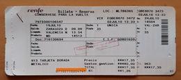 RENFE ESPAÑA. ZARAGOZA -VALENCIA. BILLETE DE IDA + BILLETE DE  VUELTA ADULTO. - Europa