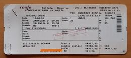 RENFE ESPAÑA. ZARAGOZA -VALENCIA. BILLETE DE IDA + BILLETE DE  VUELTA ADULTO. - Trenes