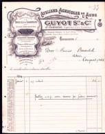 FACTURE OU LETTRE ANCIENNE DE CARCASSONNE- 1914- TREUILS ET CHARRUES + MATERIEL AGRICOLE- BELLE ILLUSTRATION- 2 SCANS- - Landwirtschaft