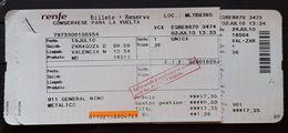 RENFE ESPAÑA. ZARAGOZA - VALENCIA. BILLETE DE IDA + BILLETE DE  VUELTA NIÑO. - Spoorwegen