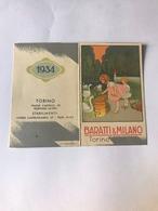 Calendarietto Baratti E Milano Torino 1934 - Calendari