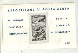 """426 - """"FOGLIETTO ERINNOFILO-ESPOSIZIONE DI POSTA AEREA-RIMINI-S.MARINO 18-20 LUGLIO1947 """"  NUOVO-GOMMATO - Erinnophilie"""