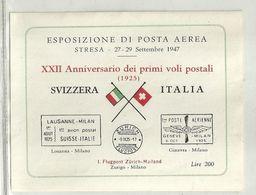 """427 - """"FOGLIETTO ERINNOFILO-ESPOS. DI POSTA AEREA-STRESA 27-29 SETT.1947 XXII ANN. PRIMI VOLI POSTALI """"  NUOVO-GOMMATO - Erinnofilia"""