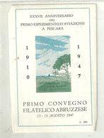 """428 - """"FOGLIETTO ERINNOFILO-XXXVII ANN. PRIMO ESPERIMENTO D'AVIAZIONE A PESCARA"""" SEMI- NUOVO-GOMMATO - Erinnofilia"""