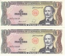 PAREJA CORRELATIVA DE LA REPUBLICA DOMINICANA DE 1 PESO ORO DEL AÑO 1988 EN CALIDAD EBC (XF) (BANKNOTE) - República Dominicana