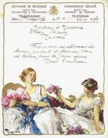 Télégramme En Couleur De 1933 De La Régie Des Télégraphes  & Téléphones De Belgique - Félicitation Pour Un Mariage (T97) - Mariage