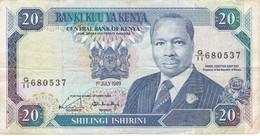 BILLETE DE KENIA DE 20 SHILINGI DEL AÑO 1989 (BANK NOTE) - Kenia