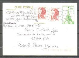 Carte Postale - Entier Postal - Tour Eiffel - 1985 - Oblitération Rohrbach Les Bitche - Entiers Postaux