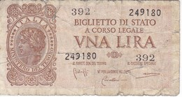BILLETE DE ITALIA DE 1 LIRA  BIGLIETO DI STATO DEL AÑO 1944  (BANKNOTE) - [ 1] …-1946 : Reino