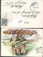 555235,tolle Lithographie Ostergruss Engel Glocken Ostern Stp. Römerstadt - Ostern