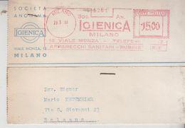 EMA AFFRANCATURE MECCANICHE ROSSE TIMBRO ROSSO SOC. IGIENICA 1950 MILANO - Marcofilia - EMA ( Maquina De Huellas A Franquear)